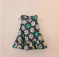 2014 Designer Flower Summer Baby Girl's Beauty Dress,Child Sleeveless Tank Dress, One-piece Dress For Girl,For 2-8Y,Drop Ship