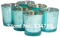HOT! Buy 2 Lots 15% Discount!2.5 inch tall glass mercury votive candle holder in blue USD49.92 for 24pcs/each USD2.08/pc