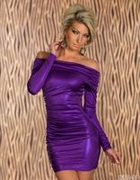 2014 Spring Fashion Women Bandage Dress Ladies' PU Dress Leather Long Sleeve Sexy Party Dress Bodycon Clubwear Free Shipping