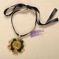 Top quality 2014 Celebrity marni brand luxury shining yellow black flower pendant necklace chocker adjustable ribbon necklace