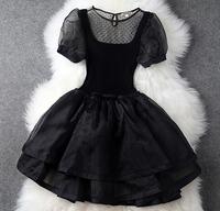 High Quality Patchwork Organza Knitted Cotton Dress, Multi-layers Lantern Short Sleeve Fashion Women Dress