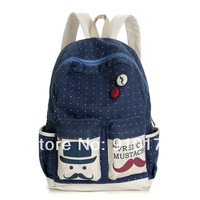 2014 New arrival Badge canvas double shoulder bags high quality beard dots backpack fashion canvas school bags FREE SHIPPING