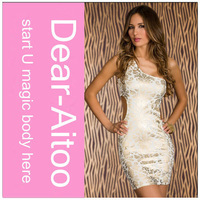 Free Shipping 2014 New Women Sexy Sheath Sleeveless One-Shoulder Sequined Print Hollow Out Champagne Dress 4149
