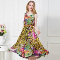 New Spring 2014 Summer Dress Long Chiffon Maxi Dresses Bohemian Beach Wear Vest Tank Sundress Girl Print Dress Brand Clothing L
