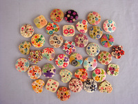 Diy handmade accessories print wood button heart circle square flower 36pc free shipping