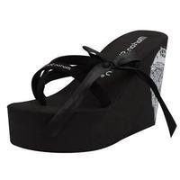 2014 new arrived 11cm high heel  Slippers female super-elevation flip flops wedges   bow  woman  sandals