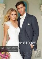 wedding suits for men tuxedo jacket dark gray  2014 custom made groom suits wool