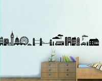 Free shipping!! JM7148 removable wall stickers London wall sticker living room 60*90cm