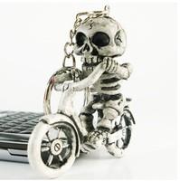 Classic 3D Skull Riding  Motorcycle keyring Simulation Model Skeleton Motorbike Keychain Key Chain Ring Keyring Keyfob T-302