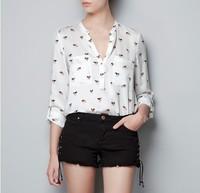 SMWM-2014 spring and autumn women's z V-neck unhide print loose chiffon long-sleeve shirt female shirt