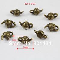 free shipping 100pcs 64-958 antique bronze Vintage teapot  jewelry charm diy decoration fashion metal beads  jewelry charm