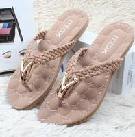 new 2014 fashion slippers soft bottom women sandals flat heel summer single shoes woman girls flip flops plus size 35-41 393-9