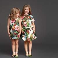 2014 Top Quality Cotton Flower Baby Girls Beauty Dress,Designer Brand Princess Dress For Girl,Sleeveless Dress Skirt,for 4-12Y