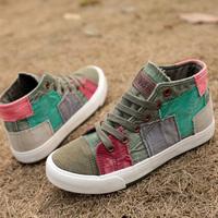 Spring color patch decoration block high canvas shoes denim shoes women's flat casual shoes women sneakers