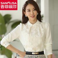 New! ! ! Explosion models! ! ! Spring 2014 Women Korean Fashion Slim lace chiffon shirt