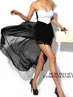 Strapless Hollow out backless chiffon long dress Asymmetrical empire sexy night club cocktail vestidos bodycon patchwork dresses