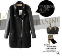 2013 New Fashion Fall/Winter Brand Women's Designer Stylish Warm Cool Black Contrast PU Leather Sleeve Zipper Woolen Overcoat