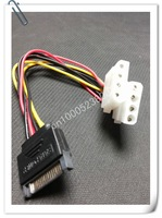 Wholesale - 15-Pin SATA Male to 2x 4-Pin IDE Female Splitter Female Power Cable M-F-F