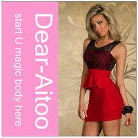 DHL Free Shipping 10pcs/Lot 2014 New Popular Women Sexy Sleeveless Ruffles Lace Patchwork Mini Dress Red 4150