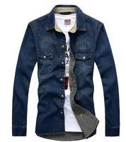 M-3XL High Quality 2014 Free Shipping New Mens Fashion shirt Denim Lattice Design Slim Fit Casual Shirts for men Free Shipping