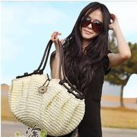 Large capacity 2014 handmade crocheted straw bag beach bag women's handbag shoulder bag handbag