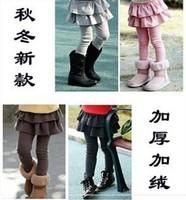 Female child legging autumn and winter thickening plus velvet basic skirt pants children's clothing female child autumn and