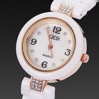 Women dress watches ceramic bracelets elegant crystal diamonds rose gold plated case quartz hour top sale hour free shipping
