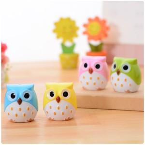 mini cute animal colored owl pencil sharpener stationery school stuff office funny supplies desktop gadgets(China (Mainland))