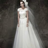 2014 spring wedding dress slit neckline fashion sexy lace plus size wedding dress