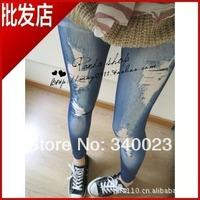 Free shipping! Wholesale Hot sale 2014 tide female Skinny personality women's Korean Slim thin fake hole Denim Leggings, NK31