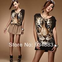 2014 Fashion Slim Vest Female Personality Tiger Long Sleeveless O-neck Print Loose Women's summer clothing Free Shipping