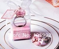 Cheap home party Favors wedding gifts diamond ring shape keychain Key accessories 50pcs/lot