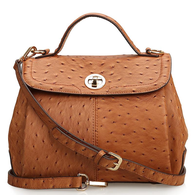 new arrivals !! Women genuine leather ostrich pattern designer handbags,cow leather flap pocket satchels shoulder bag 0449(China (Mainland))