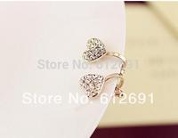 Korea heart earring fashion crystal ear clip no pierced ear cuffs fash drilling earrings 2015 new U-type ear clips girl LM-HC-28