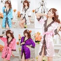 Sexy Lingerie Lace 3/4 Sleeve V Neck Bathrobe Sleepwear dress Exotic New 72741-72745