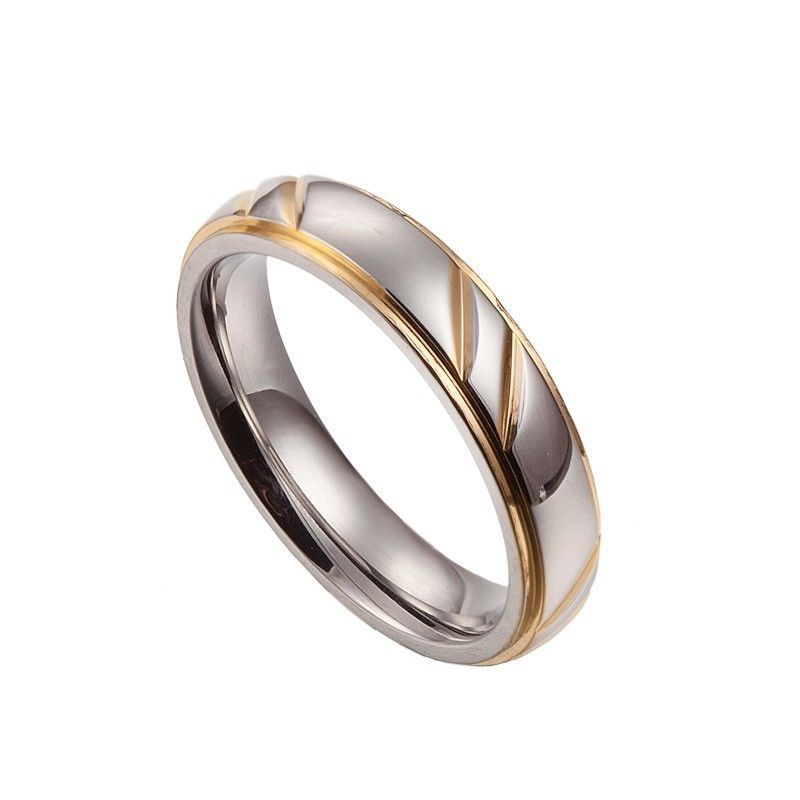 Hot sale s18K Gold Plated 6MM Mens Ladies 316L Stainless Steel Lovers Eternity Promise Wedding Anniversary Ring ,R#68(China (Mainland))