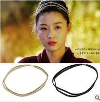 Latest 12pcs/lot DIY Retail Double-deck Hair Band Black/Golden/Sliver Headband Headwear