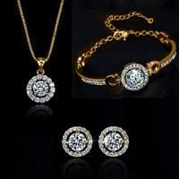 Wholesale Top Quality 18K Gold Plated Luxury Zircon Rhinestone Heart Necklace Earrings Bracelet Bridal Jewelry Sets 1127-220
