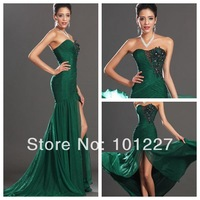 EVE 2 Sexy Sweetheart Appliques Front Slit Floor Length Emerald Green Mermaid Prom Dress 2014 New Arrival Evening Gown Zuhair