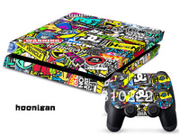 Protective Vinly Decal Skin/Stickers Wrap For PS4 Console+ 2 Controllers-Hoonigan-0106