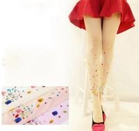 2014 New Women Fashion 15 D tights bling crystal rhinestones Candy Colors Ultrathin Harajuku Shiny Tights Pantyhose