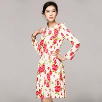 Skirt 2014 spring and summer fluid print o-neck puff sleeve one-piece dress midguts qzl756-5