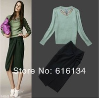 Free Shipping! Women Long Sleeve Diamond Fine Knit Sweater Cardigan+ Lady Split Slim Dress(1Set) Autumn Spring Gorgeous Suit Set