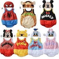 2pcs sets Retail autumn 2014 baby wear boys minkey  minnie  romper +hat  sets free shipping