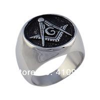 Men's Freemasonry Free Mason Masonic Silver Stainless Steel Finger Ring