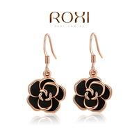 Wholesale ROXI Fashion Accessories Jewelry Austria Crystal Rose Flower Drop Earrings for Women