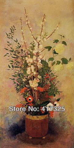 Pintura a óleo pintado à mão reprodução na lona : vaso de flores com ramos de uma árvore Flowering da Apple por Odilon Redon(China (Mainland))