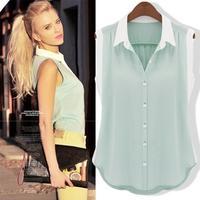 Free Shipping sleeveless turn down collar color block decoration loose chiffon fashion women's chiffon top