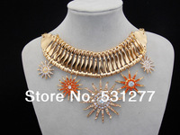 The new European and American luxury jewelry gold plated alloy S streamlined star rivets rhinestone collar necklace Sunflower