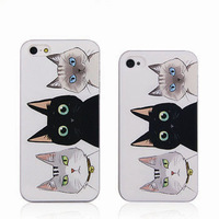 Fahion Cute Hard Case for iphone 4/4S 5/5S 5G design proctective cover / cute cats cover for iPhone4G  free shipping with a gift